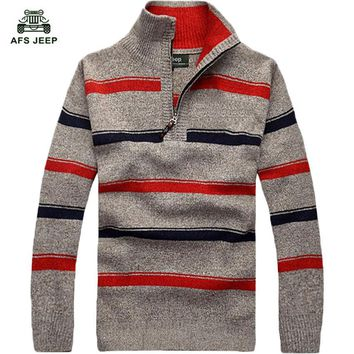 free shipping striped sweater men 2017 new arrival turn down collar pullovers plus size M-3XL 55