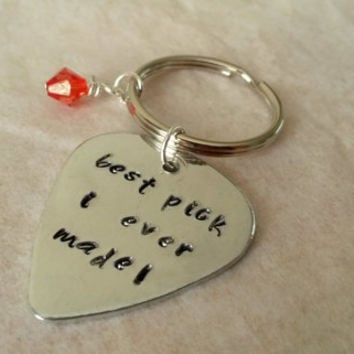 Best pick I ever made guitar pick handstamped keyring keychain