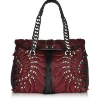 Roberto Cavalli Designer Handbags Regina Dark Red Fur and Golden Studs Small Satchel