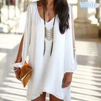 fashion V collar chiffon long sleeved loose A word dress 4 size(S-XL)4 color Plus Size = 1931444484