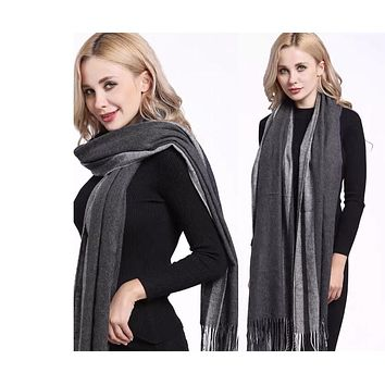 Patchwork Color Tassel Winter Cashmere Blended Scarves Wraps