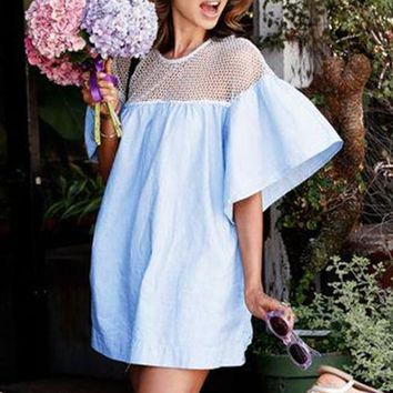 Pure Color Scoop Half Sleeves Short Fashion Dress