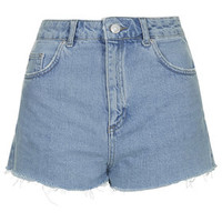 MOTO Bleached Mom Shorts - Blue