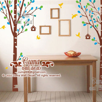 tree wall decals nursery wall decal baby name wall sticker Children wall decal - 2trees Z240 by Cuma