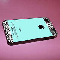 Tiffany Teal and Leopard Pattern iphone case for iphone 4/4s, iphone 5. iphone 5s. iphone 5c case