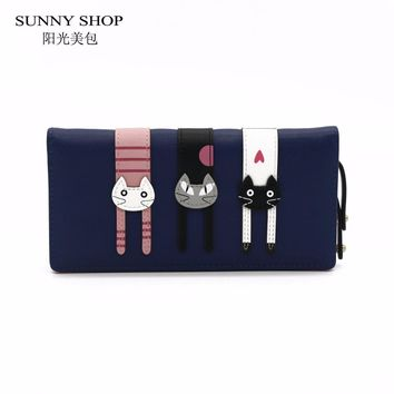 SUNNY SHOP 3D Animal Wallet Women Cute Long Design Womens wallets and purses Ladies PU Leather female purse  christmas