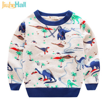Hot Sale 2016 Spring/Autumn Child's Hoodie Eco-Friendly Dinosaur Print Sweatshirts For Kid Full Cotton Boy & Girl Clothes CMB324