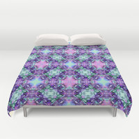 Purple and Turquoise Fractal Art Duvet Cover by Hippy Gift Shop