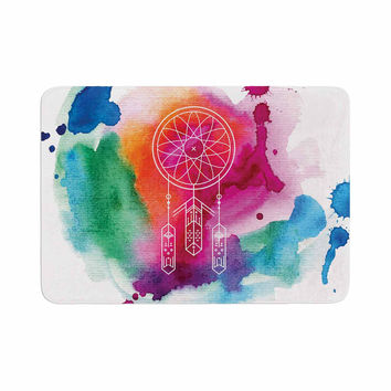 "KESS Original ""Dream In Color"" Rainbow Watercolor Memory Foam Bath Mat"