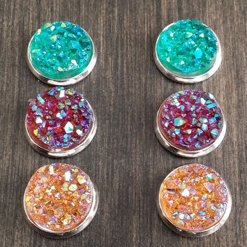 Druzy earring set- Rainforest drusy stud set - druzy earrings