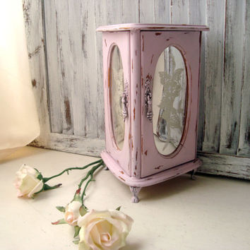 Pink Vintage Jewelry Holder, Light Pink Footed Jewelry Box, Shabby Chic Distressed Jewelry Box with Floral Mirror Doors, London Leather