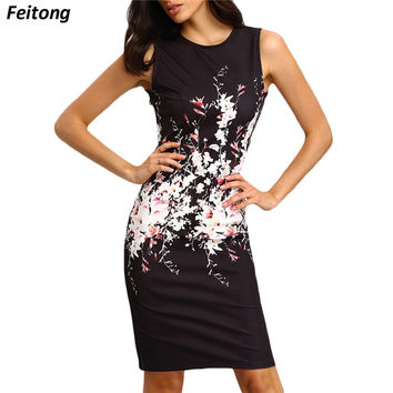 Sleeveless Bodycon Ladies Evening Party Dress Print