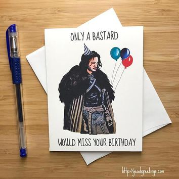 Game of Thrones Jon Snow Kit Harington Happy Birthday Card FREE SHIPPING