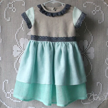 18 month to 2 years Linen girl dress Light grey aquamarine and blue ruched summer dress with blue linen lace trim