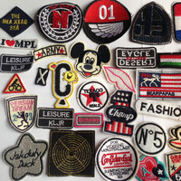 20pcs/lot Embroidered Patch Motif Applique random styles Clothing Material DIY Handmade Patchworks
