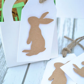 Shoppaperhoney on etsy on wanelo set of 12 easter gift tags kraft bunny tags rustic hang tags comes negle Choice Image