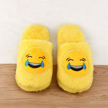Cute Unisex Winter Man's Plush Slippers Indoor Shoes House Funny Women Slippers Emoji