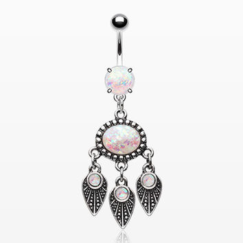 Opalescent Dreamcatcher Feather Belly Button Ring