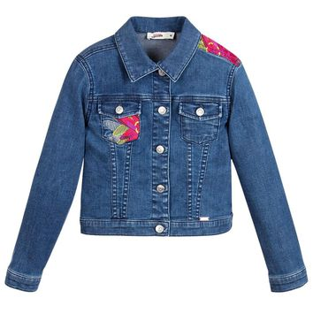 Junior Gaultier Girls Floral Embroidered Denim Jacket
