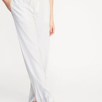 Mid-Rise Wide-Leg Linen-Blend Pull-On Pants for Women | Old Navy