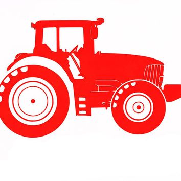 Red Personalised Tractor Car Sticker Wall Home Glass Window Door Laptop Auto Truck Red Vinyl Decal Decor Gift 11.4cmX13.7cm