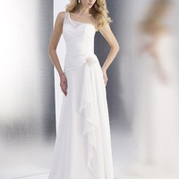 A-Line One Shoulder Floor-Length Gown with Chiffon Style T553 : $179.00 at VikiDress.com.