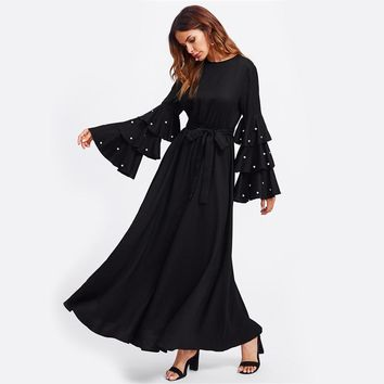 Black Pearl Flare Sleeve With Belt