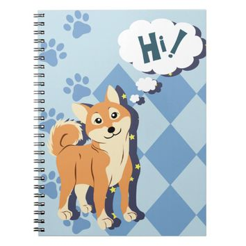 Thoughtful Shiba Inu Spiral Notebook