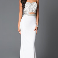 Long Strapless Beaded Prom Dress Cutouts