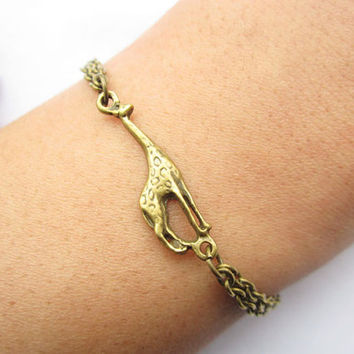 bracelet---antique bronze little giraffe pendant & alloy chain