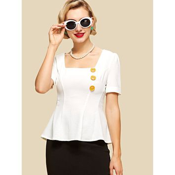 Button Embellished Square Neck Peplum Top