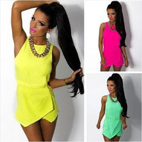 Fashion Candy Color Overalls For Women Sleeveless Jumpsuits = 1876510468