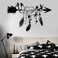 Vinyl Wall Decal Ethnic Arrow Love Feathers Bedroom Decoration Stickers Murals Unique Gift (ig4920)