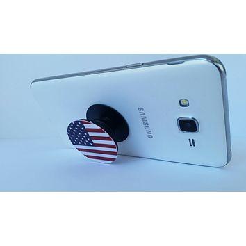 2X1 Pop Out Phone Grip and Stand, Mobile Holder for your Phone & Tablet (Flag)