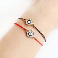 Evil eye bracelet, black string bracelet, red string bracelet, valentine's day gift, birthday gift, crystal evil eye, best friend gift