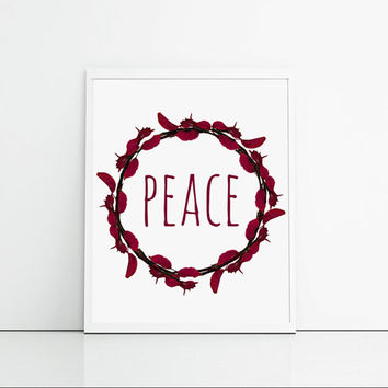 Christmas Home Decor - Peace - Wall Art Quote Print - Maroon Leaves Flourish Border - Christmas Typography Decor