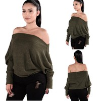 Sexy Off Shoulder Pullover Sweater