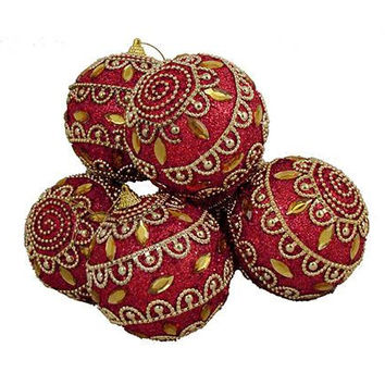 "6 Christmas Ball Ornaments - 3.75 ""  - Red With Red Glitter, Gold Teardrop Shaped Faux Crystal Gems And Beading"
