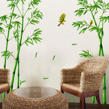 2pcs Green Bamboo Forest Wall Sticker Decorative Self-adhesive Wall Decals DIY Home Decor Sticker for Living Room Decoration