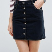 ASOS Denim Dolly Button Through Skirt In Black at asos.com