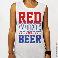Red Wine and Beer- White - Muscle Tee Tank T-shirt