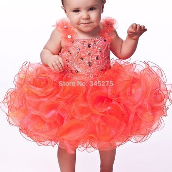 2014 glitz baby toddler little girls pageant dresses cupcake infant beaded stones ruffled puffy floral straps kids pageant dress