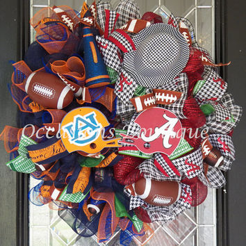 House Divided Football  Wreath, Alabama Crimson Tide, Auburn Tigers, Door hanger, Wreath for door, Deco mesh, Door Decor