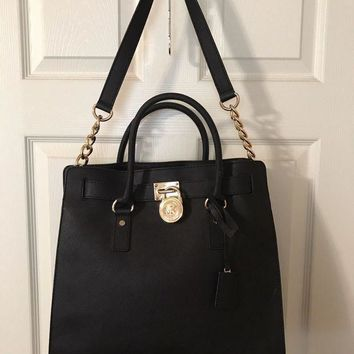 ONETOW MICHAEL KORS HAMILTON LARGE NORTH/SOUTH TOTE PURSE BAG BLACK