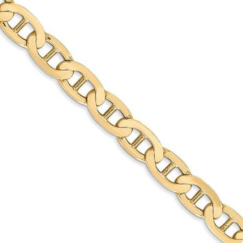 6.25mm 14k Yellow Gold Solid Concave Anchor Chain Necklace