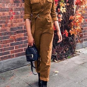 New Khaki Pockets Belt Single Breasted High Waisted Corduroy Vintage Long Jumpsuit