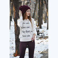 Fashion letters printing warm sweater