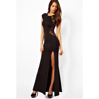 Lady's Lace & Knitting Patchwork Back Waist Hollow Out Vented Dress Solid Black Slim Side Slit Open Long Dress