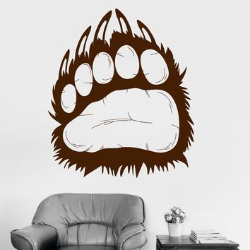 Vinyl Wall Decal Grizzly Bear Animal Predator Paw Prints Claws Stickers Unique Gift (809ig)