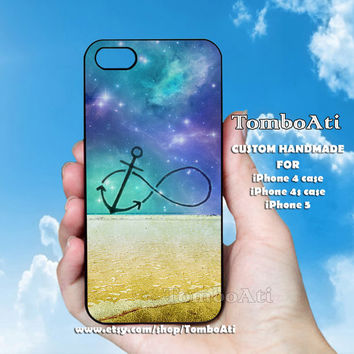 Infinity Anchor Refuse to Sink Blue Ocean Beach - Print on Hard Cover For iPhone 4/4S and iPhone 5 Case